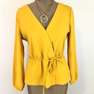 J.CREW Yellow Gold Long Sleeve Tie Blouse - 6